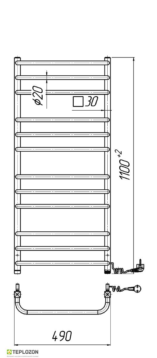 Електрична рушникосушка Mario Преміум Стандарт -І 1100x490/170 - 1